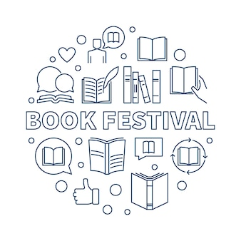 Book festival concept round outline icon illustration