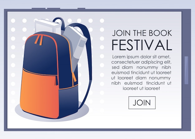 Book festival flat announcement on mobile screen
