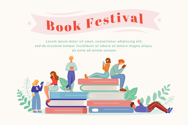 Book festival flat poster vector template. writer fest