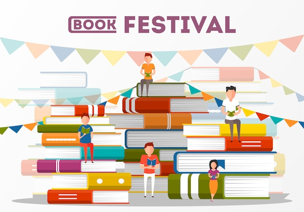 Book festival poster with small people characters