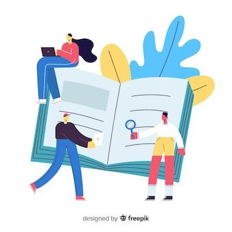 Book filled with new information university concept Free Vector