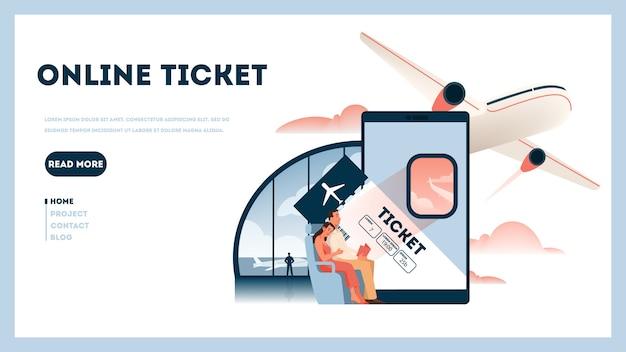 Забронируйте полет онлайн-концепции. идея путешествий и туризма. планирование поездки онлайн. купить билет на самолет в приложении.