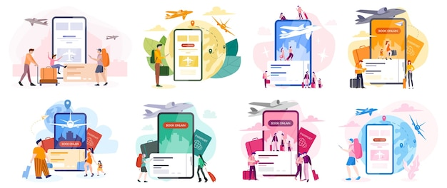 Book flight online concept. idea of travel and tourism. planning trip online. buy ticket on plane in the app. set of  illustration in cartoon style