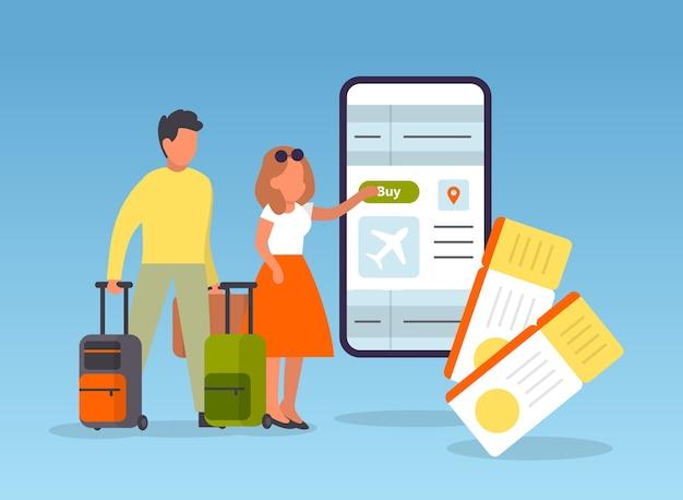 Забронируйте рейс онлайн. люди, планирующие поездку онлайн. идея путешествий и туризма. купить билет на самолет в приложении.