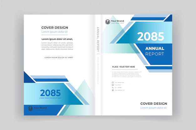 Book front and back cover for annual report with geometric shapes design Premium Vector