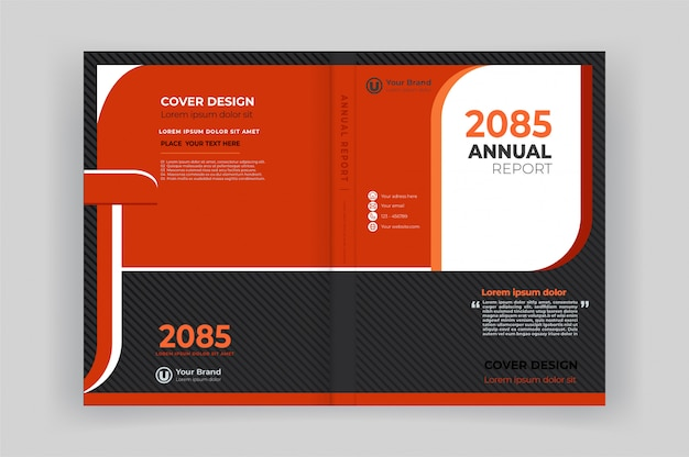 Book front and back cover for annual report with geometric shapes design