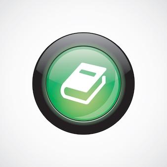 本のガラスのサインアイコン緑の光沢のあるボタン。 uiウェブサイトボタン