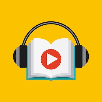 Book and headphone icon. audiobooks design. vector graphic