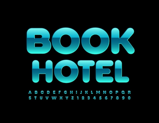 Book hotel glossy blue font set of modern alphabet letters and numbers