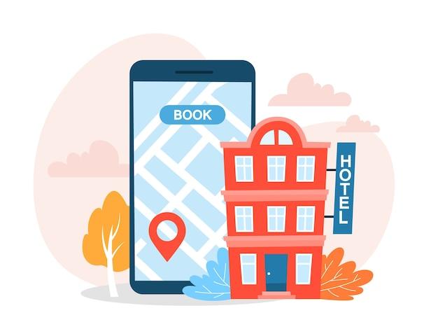 Забронируйте онлайн-концепцию отеля. идея путешествий и туризма