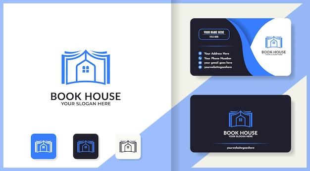 Book house logo and business card design
