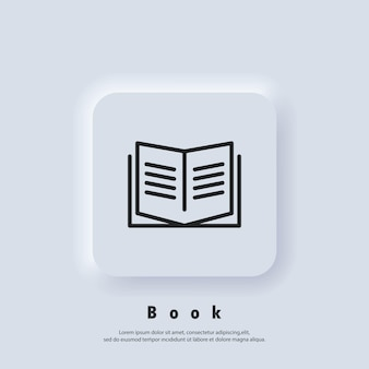 Book icon. open book. reading line icon. book logo. bookstore logo. library sign. education or educational symbol