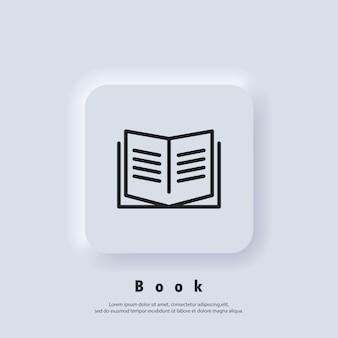 本のアイコン。本を開きます。読書ラインアイコン。本のロゴ。書店のロゴ。図書館の看板。教育または教育シンボル Premiumベクター