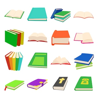 Book icons set in cartoon style for any design