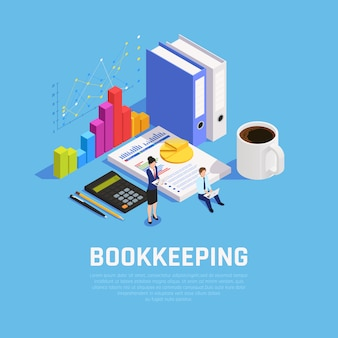 Book keeping isometric composition with charts documentation and accountants during work on blue