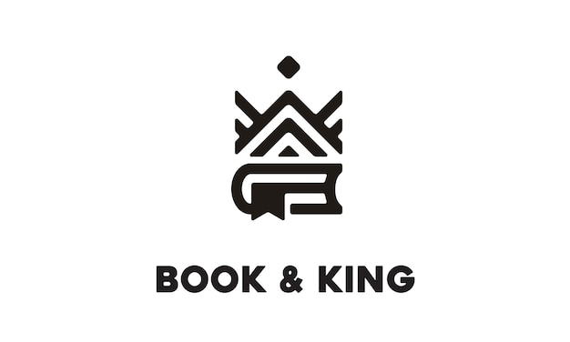 Book and king logo design
