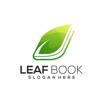 Book and leaf gradient logo illustration abstract