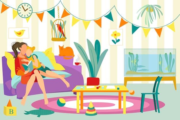 집에서 여가를 예약하고, 어머니 엄마는 딸 사람 그림을 읽었습니다. 여자 사람들이 가족 행복 함께, 라이프 스타일. 자식 캐릭터 사랑 부모, 어린 시절의 방.