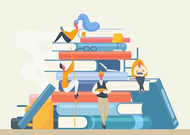 Баннер книжной библиотеки с персонажами людей. мультфильм мужчина и женщина, читая книги.