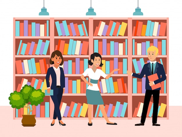 Book library, character people woman man standing volume, female male carrying pile tom   illustration. public business book depository.