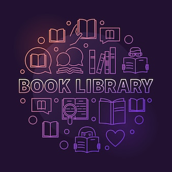 Book library colorful circular outline vector illustration