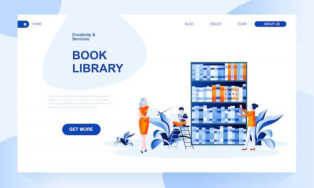 Book library landing page template with header