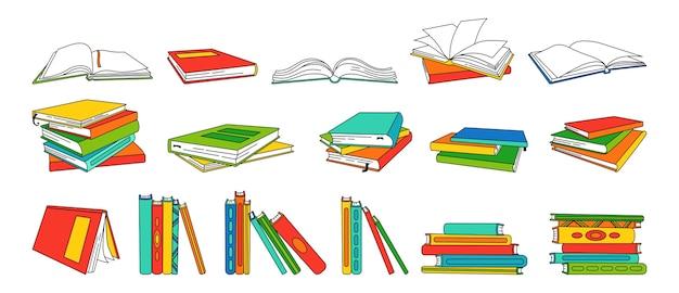 선형 만화 세트를 예약하십시오. 라이브러리에 대한 빈 흰색 페이지. 손으로 그린 빈 교과서, 두꺼운 표지의 책. 책 수집을 통해 읽고 배우고 교육을받습니다.