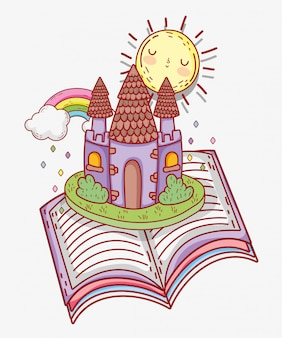 Book literature with sun and castle with rainbow