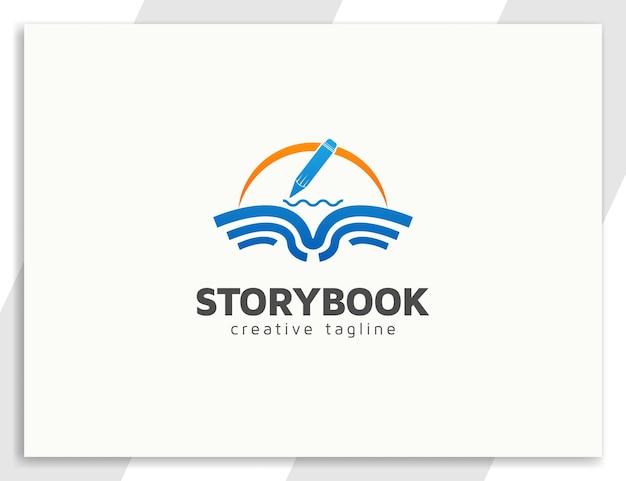 Book logo design with pencil illustration