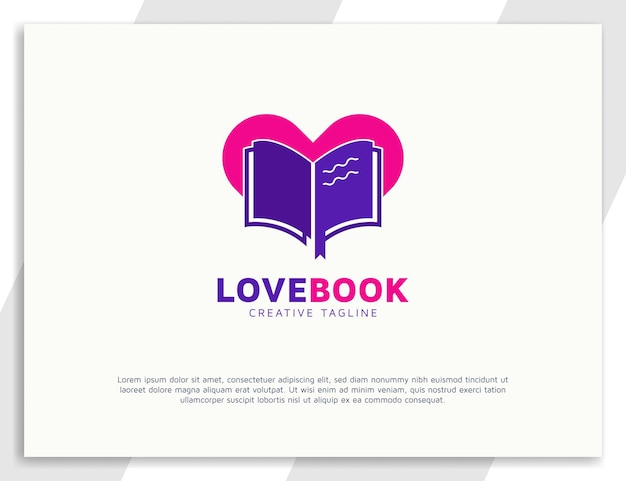 Book love logo with heart symbol design
