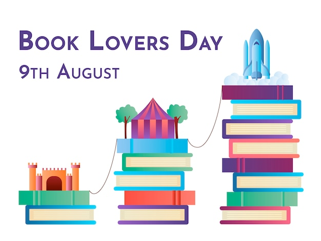 Book lovers day colorful illustration with imaginary worlds concept