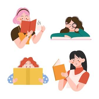 読書や勉強をしたり、自宅でくつろいだり、ハッピーワールドブックデーのイラストで試験の準備をしたりする本好きの人