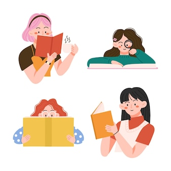 Book lovers people reading or studying and preparing for examination with cozy at home and happy world book day illustration