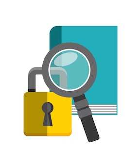 Book, lupe and padlock icon. copyright design. vector graphic