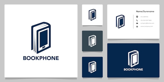 Book and mobile phone learning online gadget negative space logo design with business card