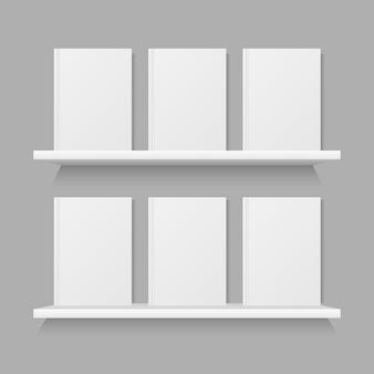 Book mock up on shelf vector design illustration on grey