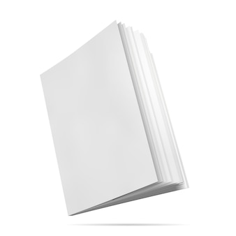 Book mockup blank cover vector illustration of notepad face side view with pages