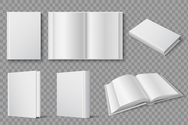 Book mockup. blank white closed and open books.