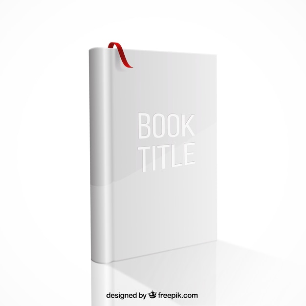 Book mockup with red ribbon