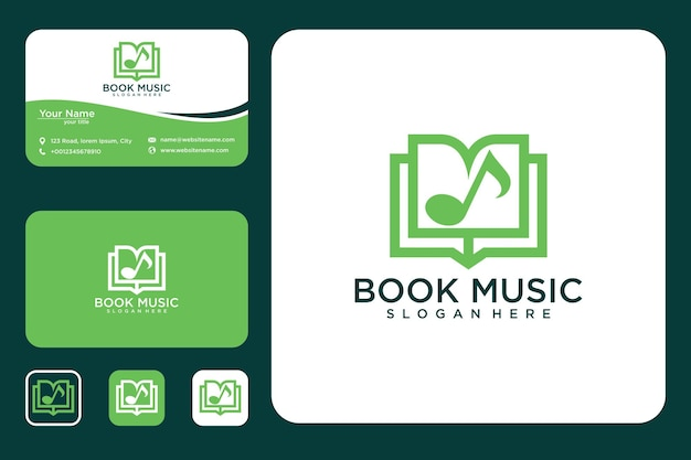 Book music logo design and business card