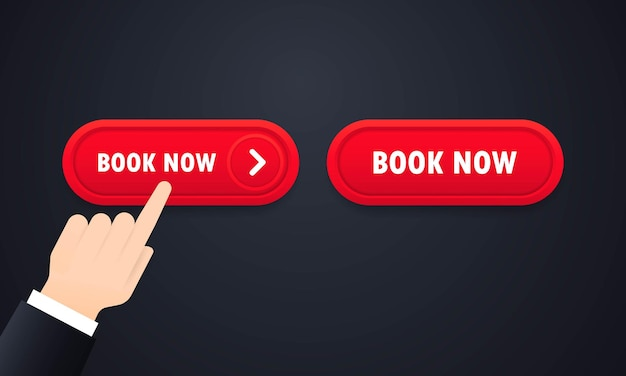 Book now button set. for website. vector on isolated white background. eps 10.