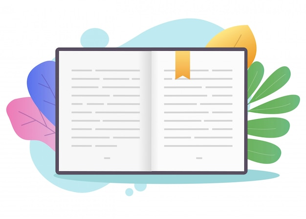 Book open pages with text or textbook paper with bookmark.