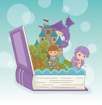 Book open with fairytale dragon in castle with warrior and mermaid