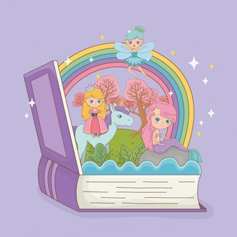 Book open with fairytale mermaid with princess in unicorn