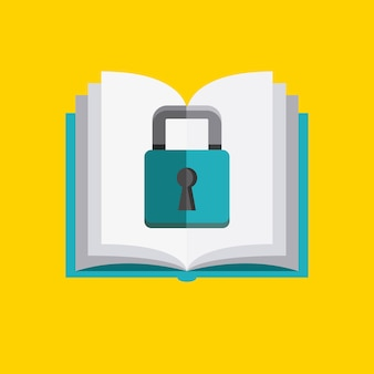 Book and padlock icon. copyright design. vector graphic