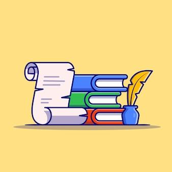 책, 깃털 펜 및 잉크 만화 아이콘 그림 종이. 교육 개체 아이콘 개념입니다. 플랫 만화 스타일