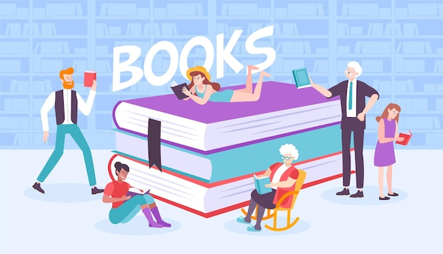Book people composition with flat human characters surrounding pile of books with bookcase  and text