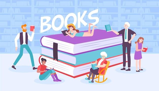책장과 텍스트가있는 책 더미를 둘러싼 평평한 인간의 문자로 책 사람들 구성
