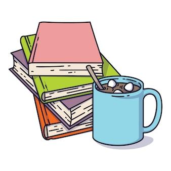 本の山とマシュマロとココアのカップ。図書館、本屋、フェスティバル、見本市、学校の読書コンセプトが大好きです。白で隔離のベクトル図。