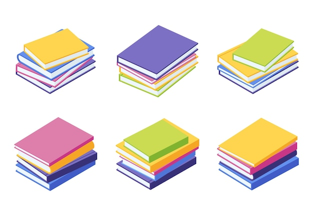 Book pile isometric - illustration set of stacks of lying colorful papers